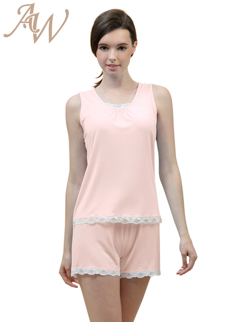 Womes Pajamas Set Sexy Sleeveless Tank Top and Lace Short Dressing ...