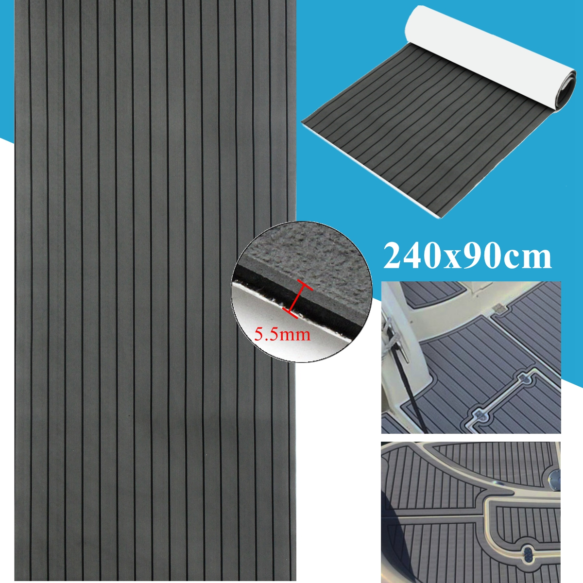 90x240cm Dark Grey with Black EVA Foam Teak Boat Flooring Sheet Yacht Synthetic Teak Decking Pad teak house комод maori