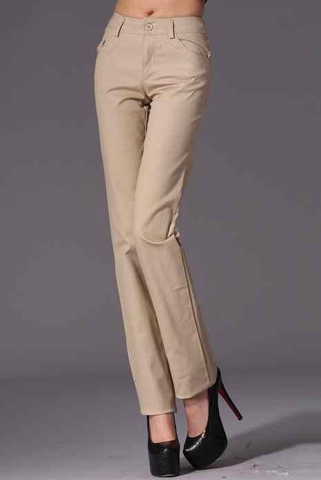 Новые модные повседневные женские брюки со средней талией, хлопковые офисные женские узкие брюки, S-4XL