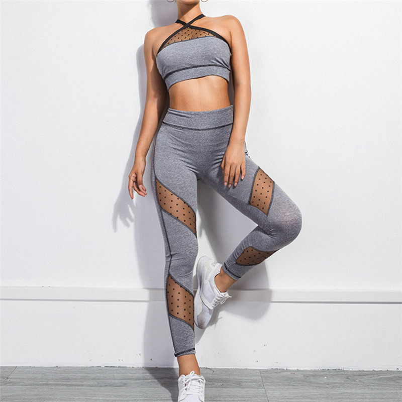 Fitness Women Yoga Set Ensemble Sport Suit Tracksuit Hollow Out Sexy Gym Wear Running Clothes Mesh