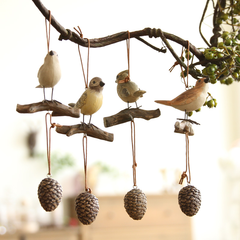 Hanging Pieces 4 Pieces Of Creative Home Furnishing Retro Bird Resin Pendant Ornaments Living Room Wind