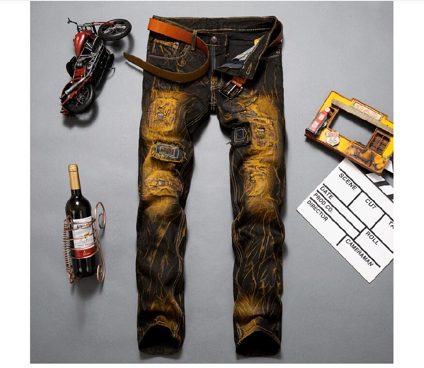 ФОТО western designer the explosion of hot retro jeans  new design Mens nostalgic color hole pants   new arrival SX 001