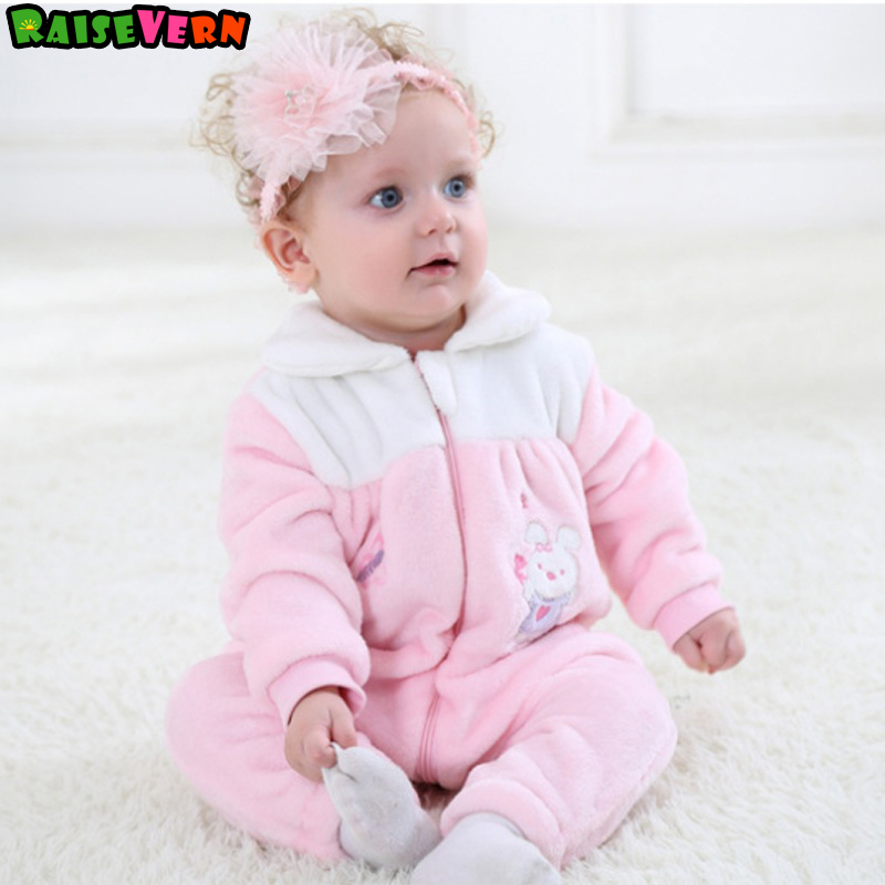 Coral Fleece Warm Rompers Pajamas 0-24M Baby Girls Winter Long Sleeve Outfit Newborn Infant Jumpsuit Kids Cute Pink Clothes warm thicken baby rompers long sleeve organic cotton autumn