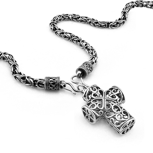 Sterling silver cross pendant new hip hop rock style man necklace6 sterling silver cross pendant new hip hop rock style man necklace6 mm66cm thai silver aloadofball Choice Image