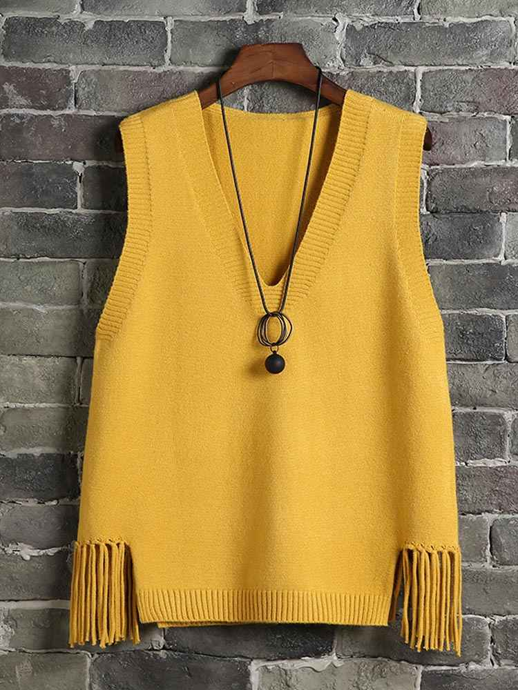 2019 New Spring Women Vest Casual Fashion Tassel V-Neck Sleeveless Knit Pullover Sweater Vest Female Short Vest Tops Plus Size