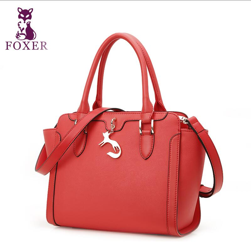 купить 2017 New FOXER leather women bag famous brands simple fashion women handbags shoulder messenger cowhide wings bag по цене 5619.99 рублей
