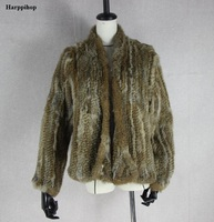 Harppihop Fur 2017 New Knitted Rabbit Fur Jackets Cardigan Outwear Women Winter Long Rabbit Fur Fashion