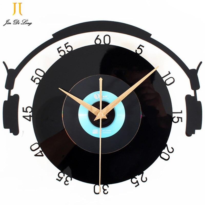 Vinyl Records CD Stereo Style Wall Clock Acrylic Wall Clock Crystal Material Wall Clock Creative Retro Art