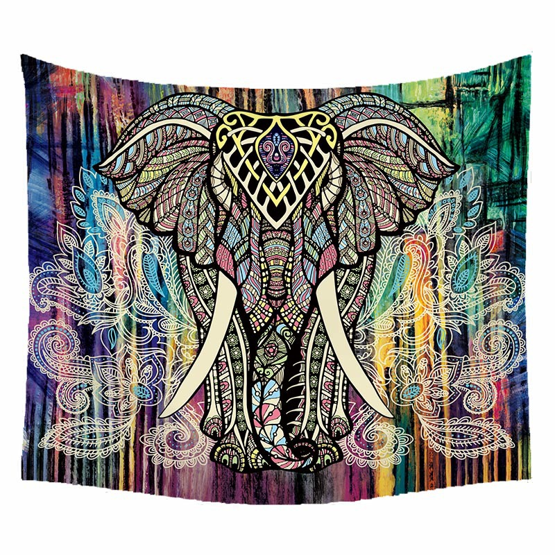 Boho Printed Home Docoration Animal Furnishing Tapestry Wall Hanging Elephant Sitting Beach Towel Blanket