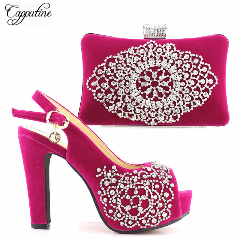 Capputine High Quality Italian Style Woman Shoes And Bag Set African Rhinestone Party Shoes And Bag Set For Wedding 5Colors capputine new arrival fashion shoes and bag set high quality italian style woman high heels shoes and bags set for wedding party