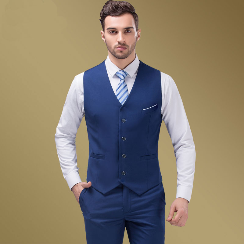 2018 High Quality Blue Groomsmens Vest Wedding Prom Party ...