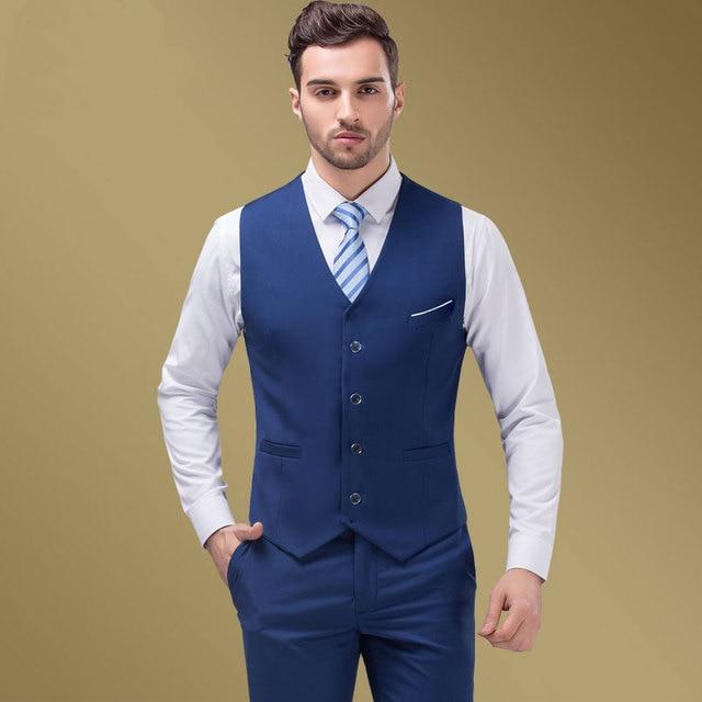 2018 High Quality Blue Groomsmens Vest Wedding Prom Party Waistcoat ...