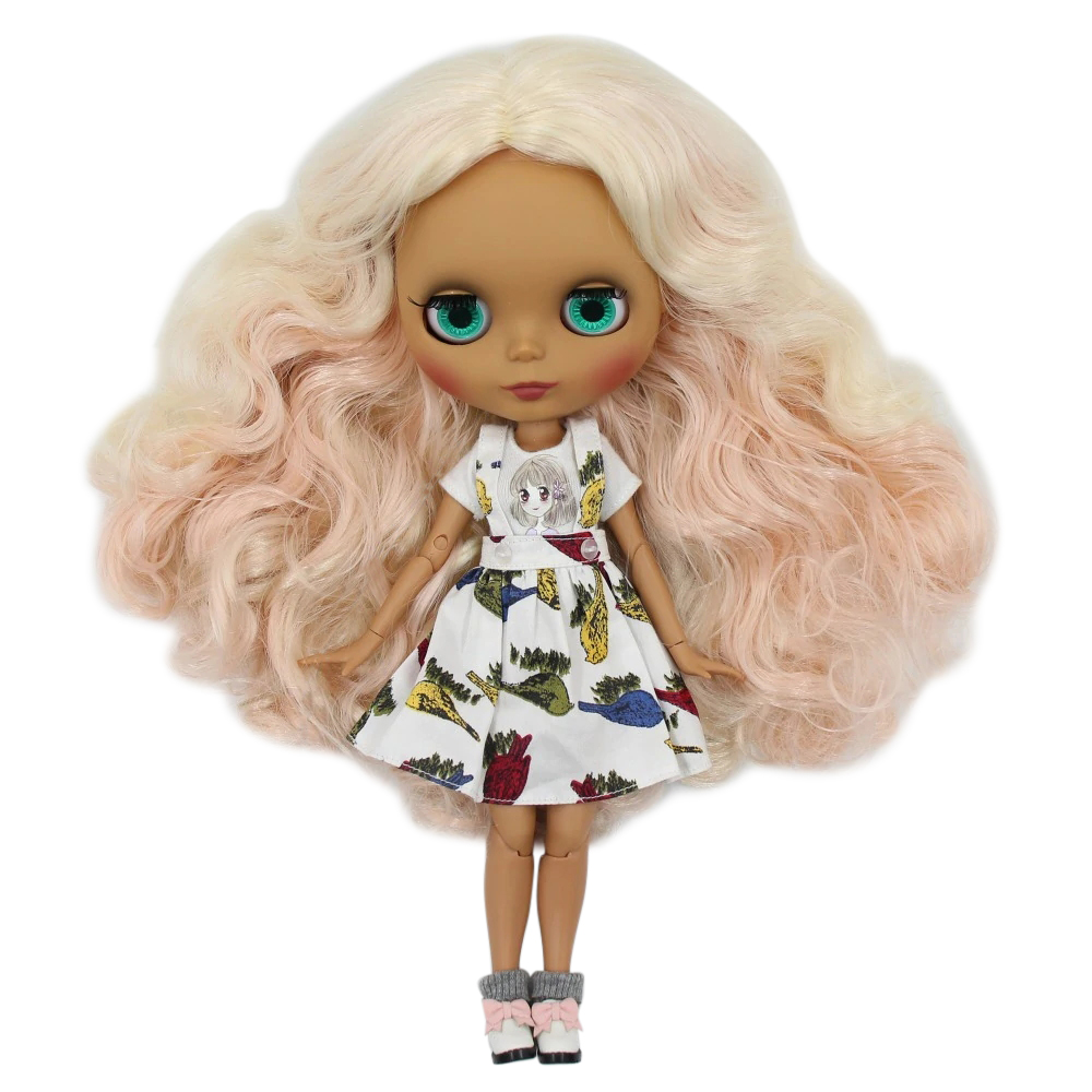 factory blyth doll 1 6 bjd joint body dark skin matte face pink and blonde hair