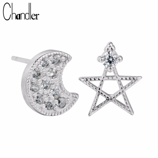 Chandler 925 Sterling Silver Half Moon David Star Stud Earring With White Crystal For Women Best Friend Gifts Boucle d'oreille