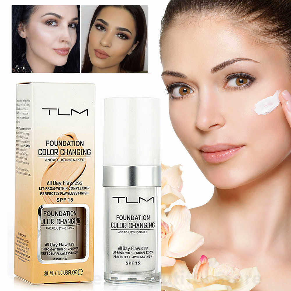 Tlm 30 Ml Kleur Veranderende Foundation Make-Up Base Vloeistof Cover Concealer Langdurige Make-Up Sombras Huidverzorging Foundation TSLM2