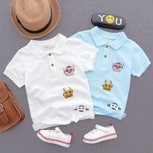 f7c8ce259a65f 2018 Été Garçons Et Filles De Mode Lâche Tournent Vers Le Bas 3D Bande  Dessinée Impression Polo Shirts Enfants Enfants Coton Bla.