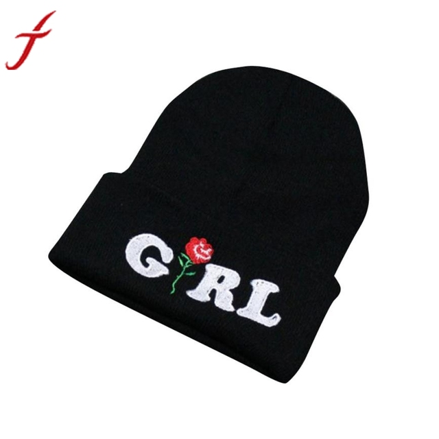 Women Beanie caps Girl Letters Printed Rose Embroidered Beanies Stocking Cap  Hiking Cuffed Knit Adjustable Solid