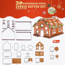 MOSEKO 10pcs/set Stainless Steel 3D Gingerbread house Cookie Cutters Cake Biscuit Mold Fondant Cutter DIY Baking Tools