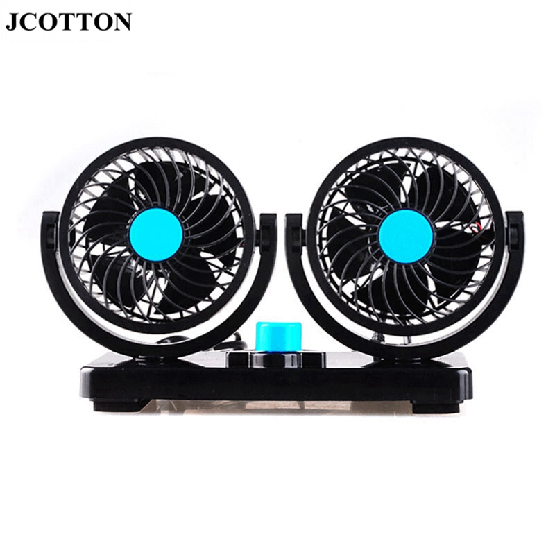 JCOTTON Portable Mini 12V Double head Car Auto Cooling Air Fan 360 degree Rotatable Vehicle cooler Fan air conditioner for car