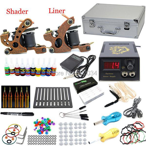 USA Dispatch Pro Complete Beginner Tattoo Kit 2 Machines Guns 10 Color Inks Power Needles Tips Grips Equipment Set supplies starter tattoo kit 40 inks 2 machine guns grips needles tips power set equipment supplies for beginners usa warehouse k201i1
