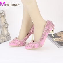 Pointed Toe High Heels For Wedding Party Rhinestone Covered Bridal Dress Shoes Stiletto Heel Banquet Pumps White Pink Red Color