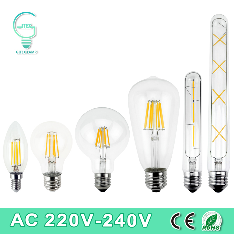 LED Filament Light E27 E14 Vintage Retro LED Edison Bulb Lamp 2W 4W 6W 8W 220V 240V Lampada Ampoule Bombilla Glass Candle Light