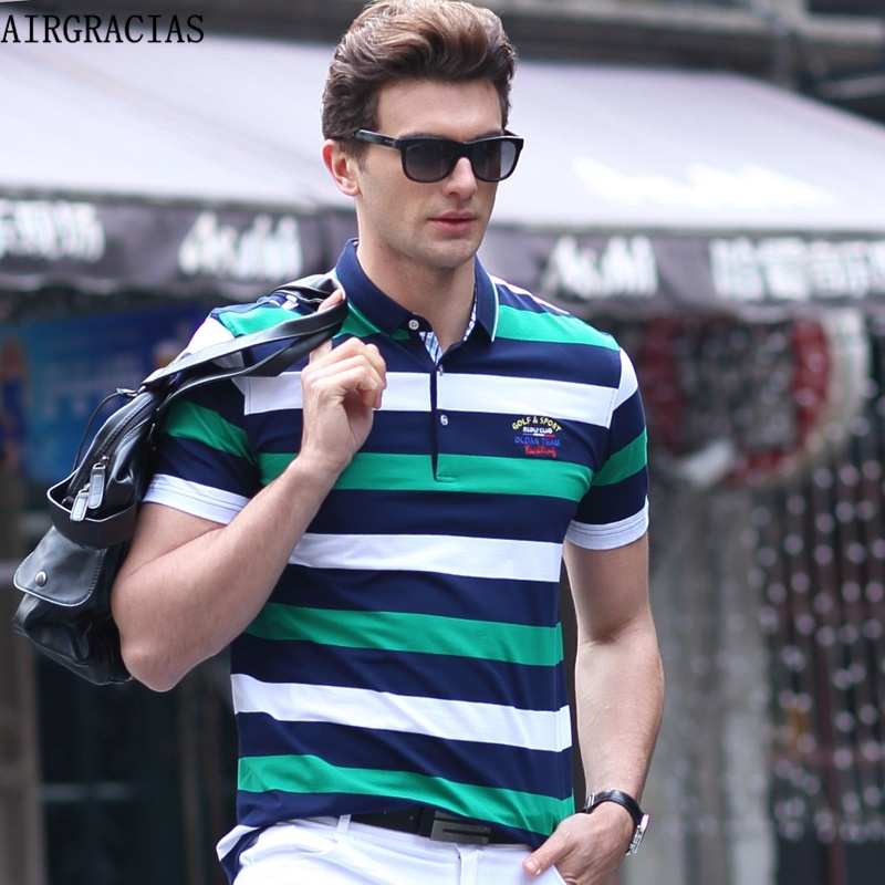 AIRGRACIAS Hot Sales Anglo-American Style Summer Men's Fashion Business Striped Lapel Polo Shirts 100% Cotton Size M-XXXL