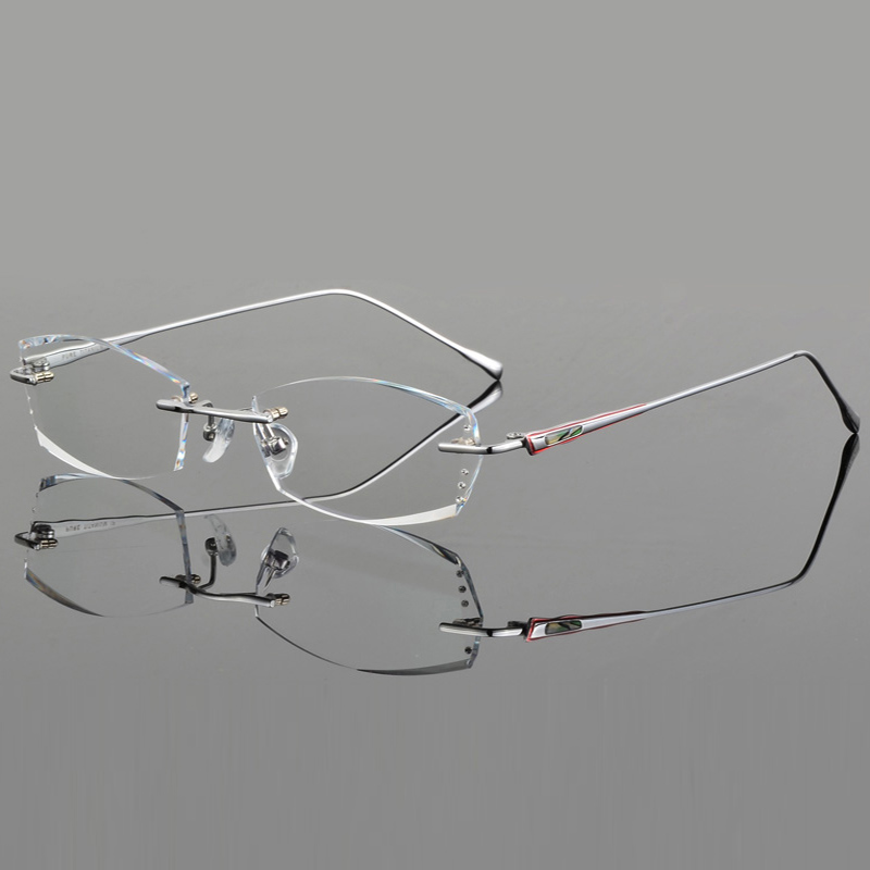 6ceda38fb8c7 Luxury Eyeglasses Rimless Women Myopia Prescription Eye Glasses Diopter  Rhinestone High Clear Lenses Gold Ladies Reading Eyewear-in Prescription  Glasses ...