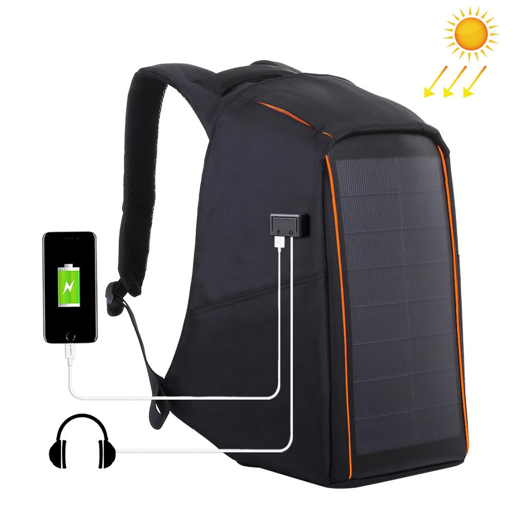 HAWEEL 12W Flexible Solar Panel Power Backpack Anti Theft Waterproof Backpack Laptop Bag 5V 2 1A