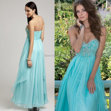 Sexy Backless Prom Dress Sweetheart Beaded Blue Floor Length Long Bridesmaid Dresses 2015 Vestido De fiesta Longo
