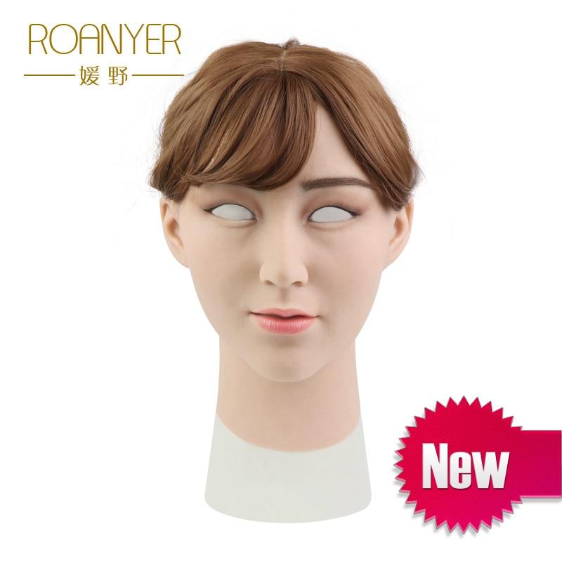 Roanyer laurier crossdresser silicone femme masque réaliste transgenre latex sexy cosplay pour homme réel halloween fête fournitures