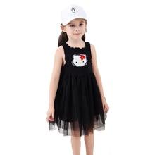 Summer Style Lace Girls Dress Baby Girls Casual Dresses KT Cartoon Children's Clothing Vestidos Infantis Toddler Girl Clothing