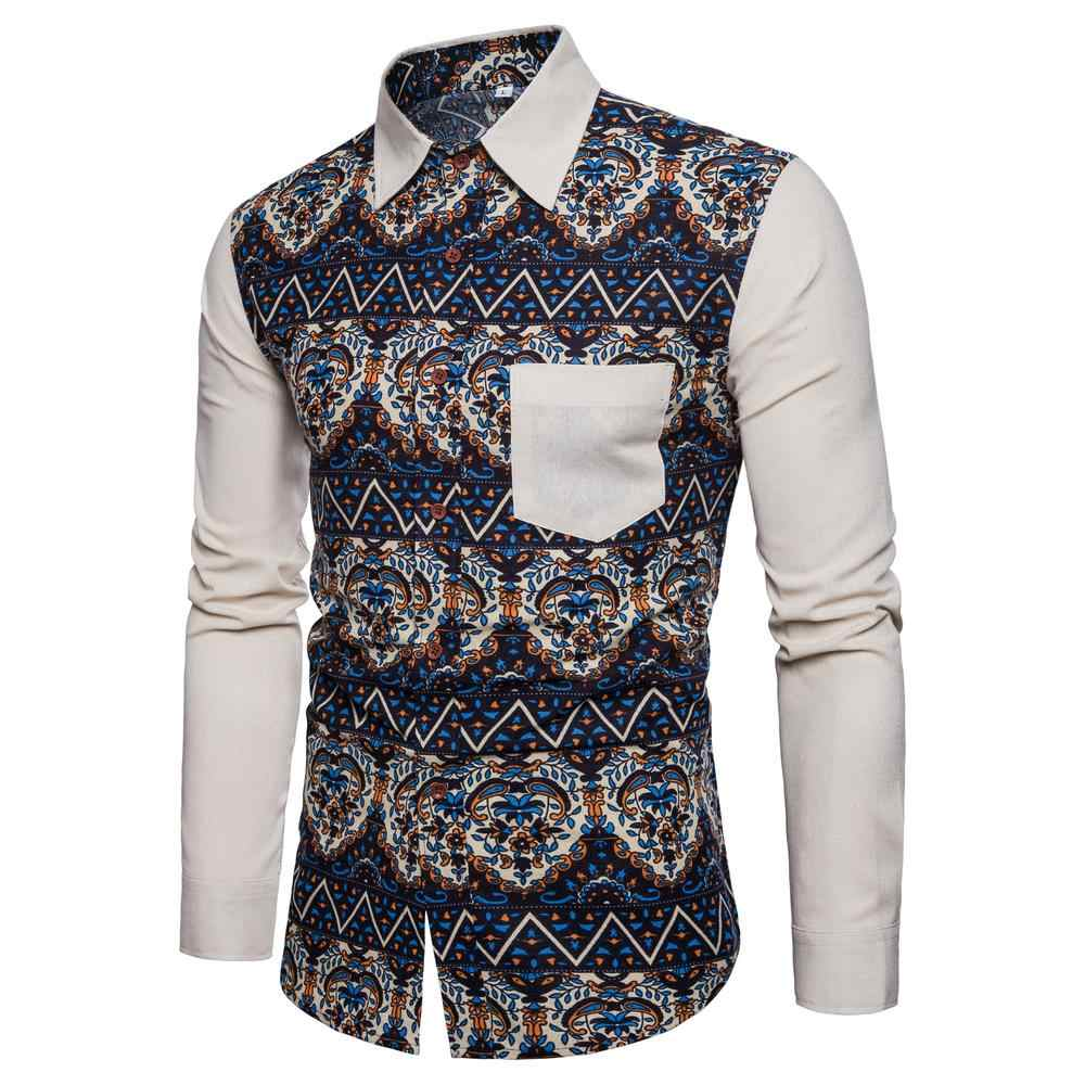 b8998e42 Vintage Men's Casual Floral Printed Shirts Man Long Sleeve Slim Patchwork  Pattern shirt male Ethnic wind