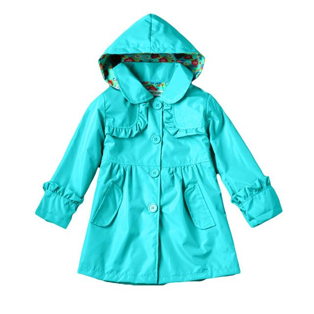 Varejo 2015 Outono Nova meninas encantadoras casacos, meninas vento carga chuva poeira casaco Crianças capa de chuva com capuz blusão