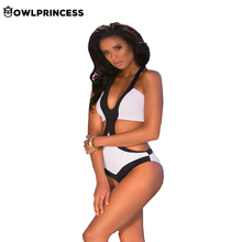 Owlprincess Girl Swimsuit Black White Stitching Female Bathing Suit Sexy Padded Cross Backless Women Bikini One Piece Beach Wear