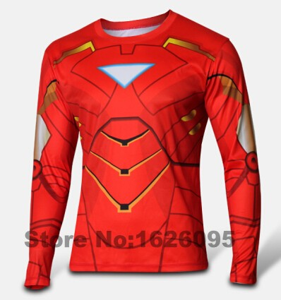 2016 Marvel Super Heroes Avengers Age of Ultron Captain America Tights T shirt Men fitness clothing long sleeves