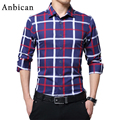 Anbican 2017 Fashion Mens Plaid Shirt Long Sleeve Social Casual Shirt Men Business Leisure Slim Fit Dress Shirts Plus Size M-5XL