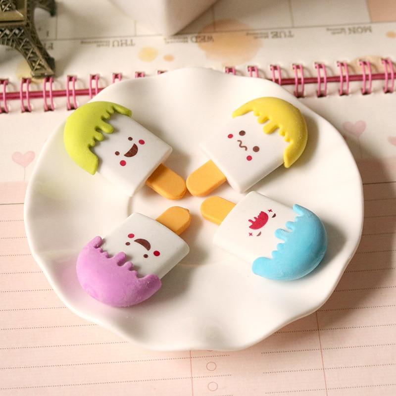 1Pcs 2018 Cartoon Face Ice Cream Novelty Eraser Rubber Escolar Papelaria School Student Prizes Gift Stationery E0541