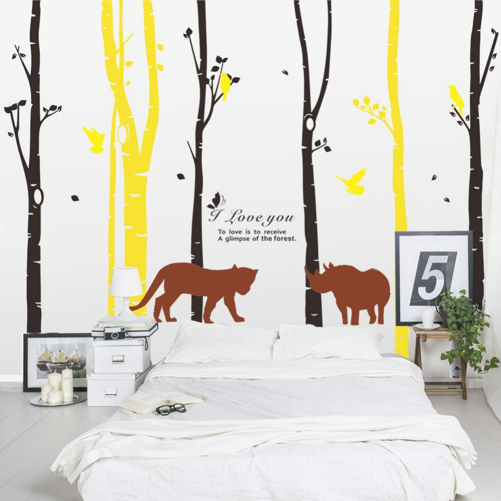 Forest birds wall stickers home decor tree living room decoration forest birds wall stickers home decor tree living room decoration wall decor decals murals sitting room tv bedroom background in wall stickers from home amipublicfo Images