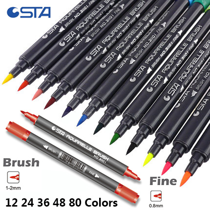 STA 12/24/36/48/80 Color Water Base Marker Pen Set Double Head Sketch Paint Brush Art Finecolor Marker Pen Drawing Supplier sta 128 colors double headed sketch alcohol drawing marker pen 24 36 48 60 72 set animation common paint sketch art marker
