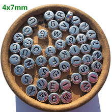 Silver Letterลูกปัดอะคริลิคตัวอักษรเครื่องประดับพบจำนวนมากซื้อสำหรับHandmadeปัจจุบันศิลปะหัตถกรรมของขวัญ 4*7 มม.3600pcs