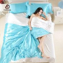 Parkshin Luxury Light Blue White Silk Satin Bedding Set Soft Duvet Cover Queen King Size Adult Decor Bed Linen Home Textiles