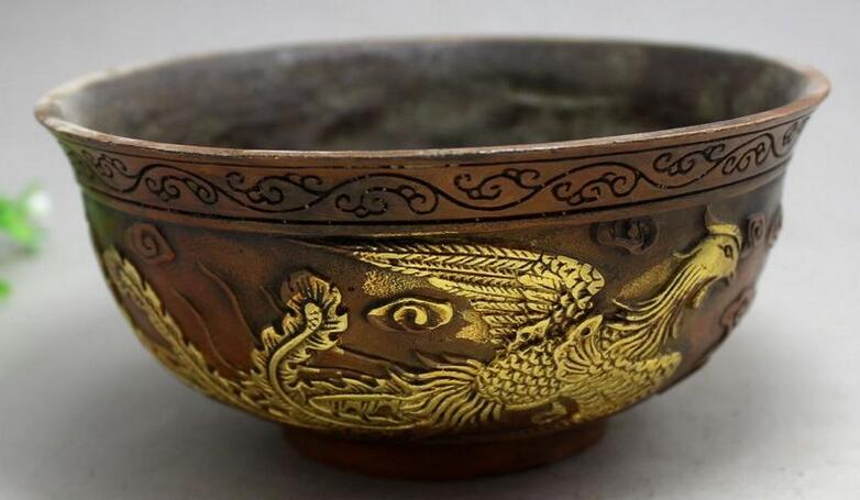 bronze crafts gilt brass copper bowl Shuangfeng living room decorationbronze crafts gilt brass copper bowl Shuangfeng living room decoration