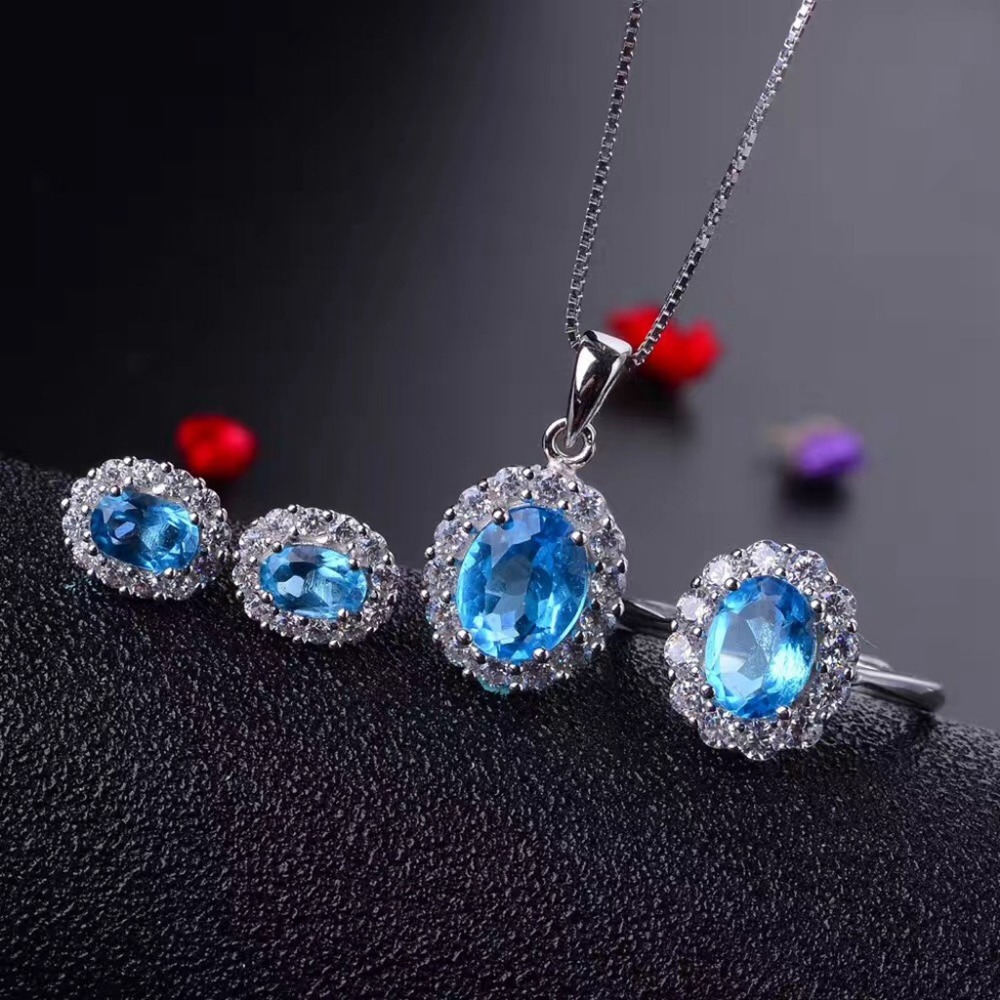 MeiBaPJ Classic Diana Surround Technology Upgrade Natural Blue Topaz 925 Silver Jewelry Set Wholesale recommendation goal directed complete web recommendation