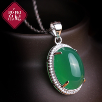 Silk Princess 925 silver green chalcedony Pendant green natural semi precious stones necklace female girlfriend gift