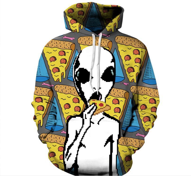 S-XXXL 2018 Autumn Winter Men/Women 3d Hoodies Alien Pizza Print Designed Sweatshirts Unisex Hooded Hoodies Pullovers With Hat