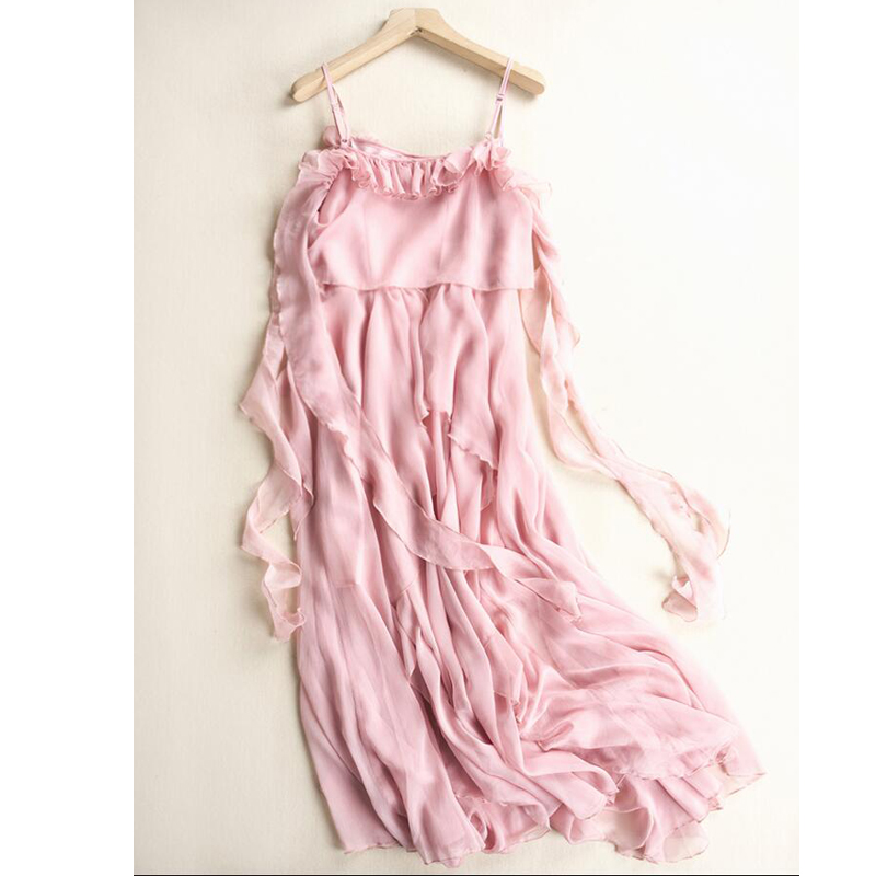 New 2019 Beach Dress Women High Quality Sexy Solid Chiffon Holiday dress Girl Long Pink dresses Free Shipping in Dresses from Women 39 s Clothing