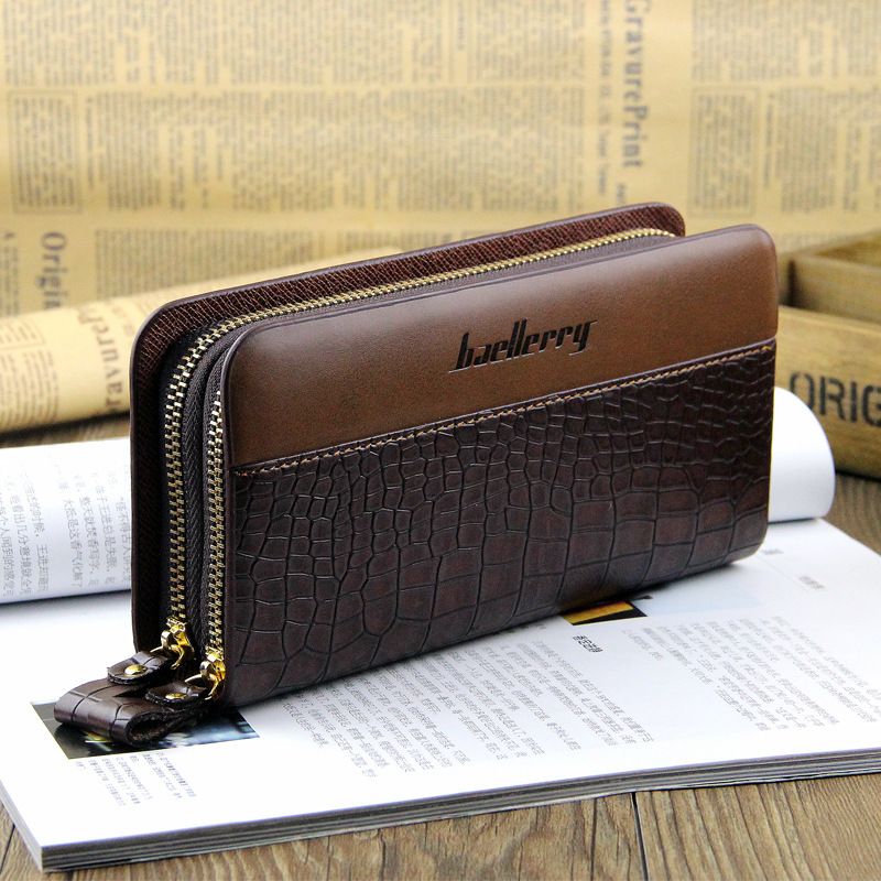 Crocodile Pattern Double zipper coin PU leather slim purse high quality Large Capacity clutch clip 2019 fashion men long wallet in Wallets from Luggage Bags