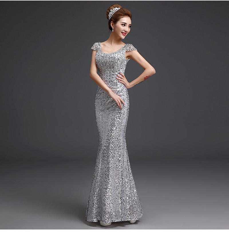 New Bling Bling Silver Evening Dresses Cap Sleeve Beading Sequins Long Mermaid Party Gowns