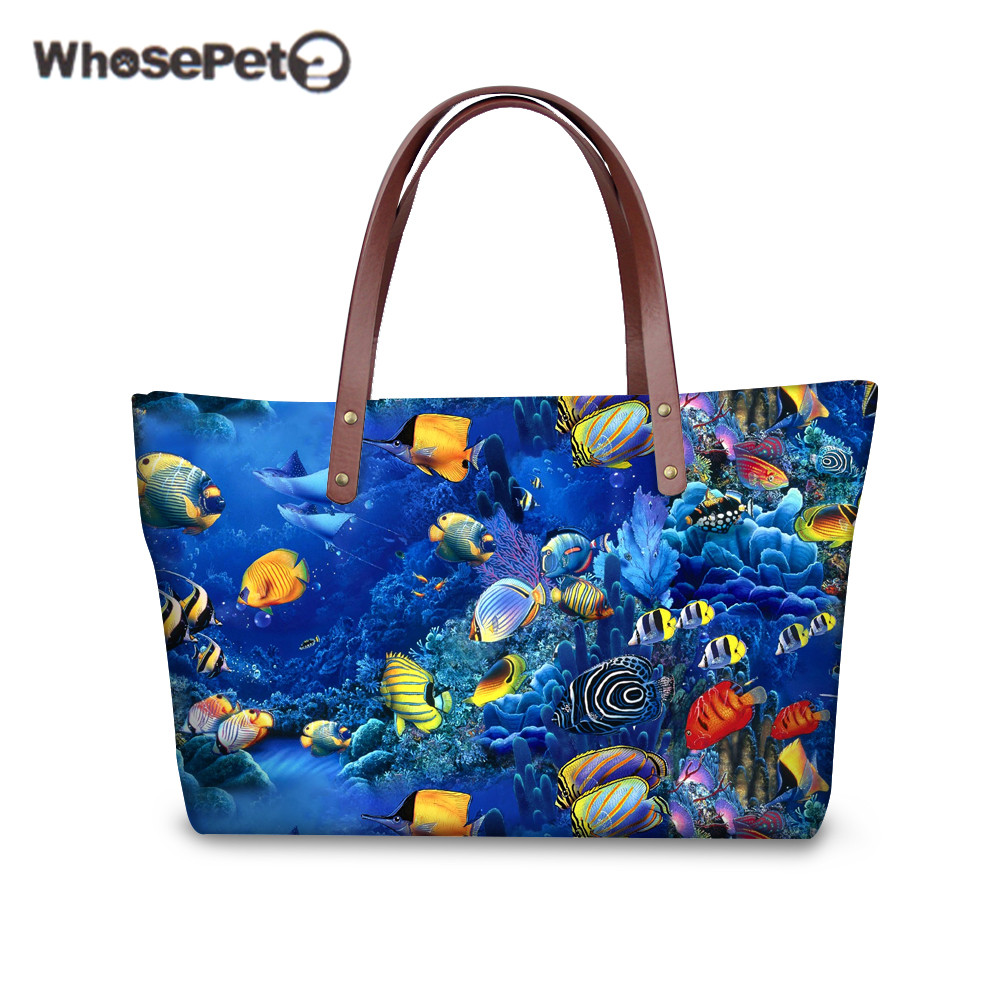 WHOSEPET Large Capacity Women Tote Hot Top handle Bag Sea Fish Print for Grils Fashion High